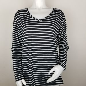 Poof 2X Black and White Striped Shirt NWT